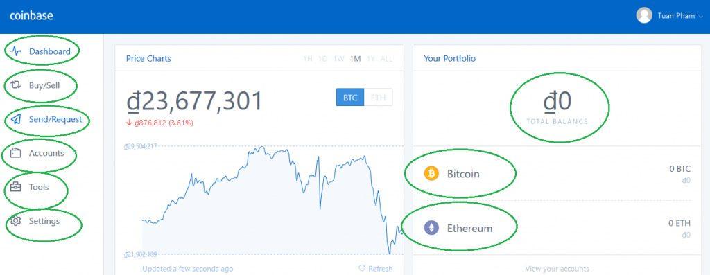 Giao diện của ví bitcoin trên Coinbase