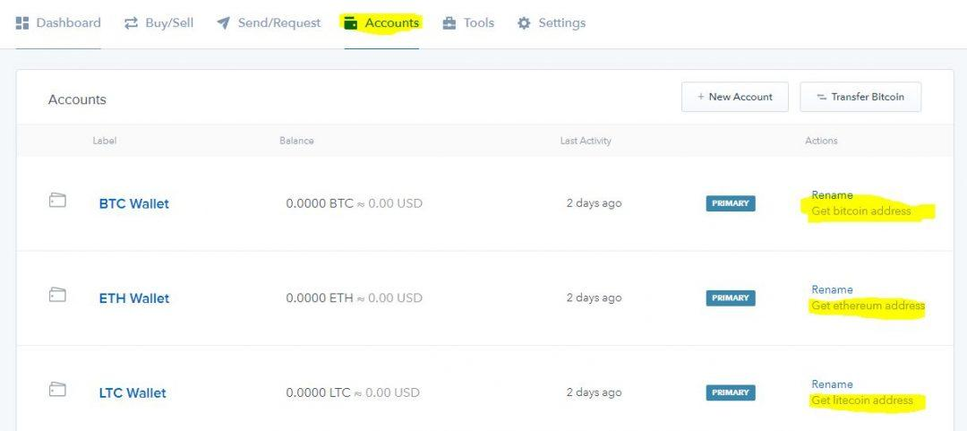 Tạo địa chỉ ví bitcoin, ethereum và litecoin tren coinbase