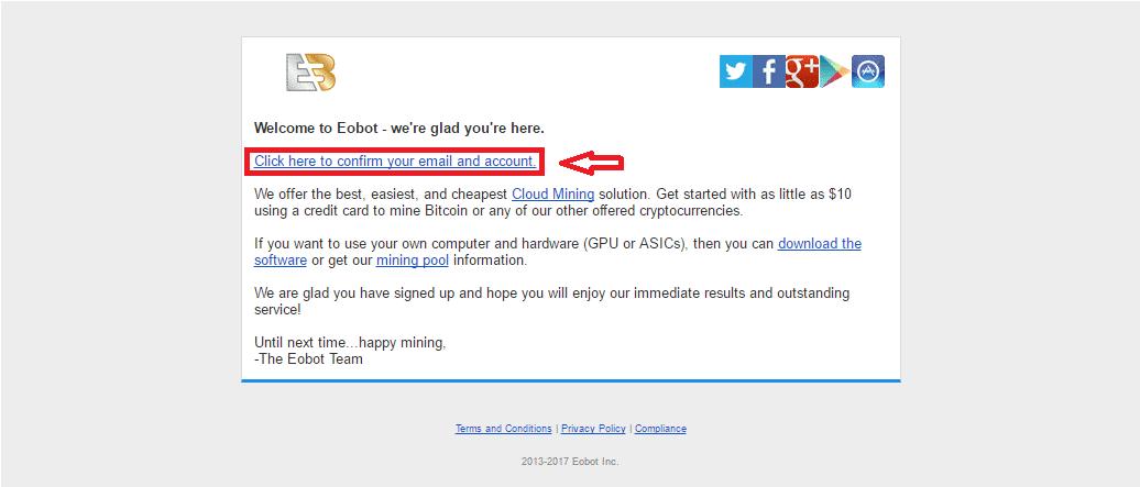 Xác nhận Email kích hoạt tài khoản Eobot.com