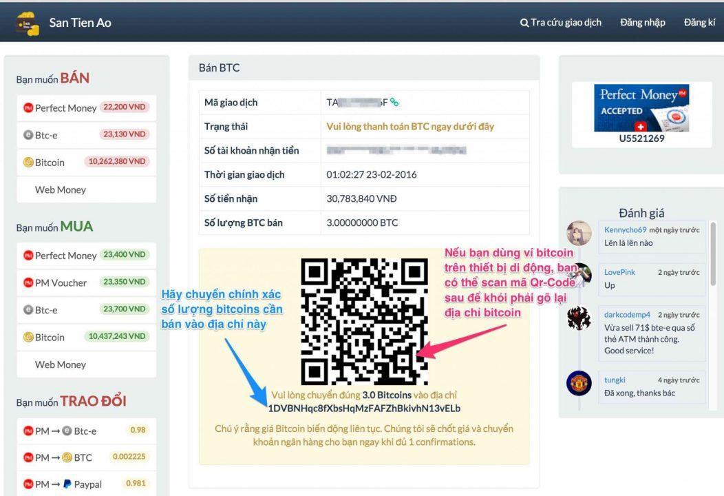 Bước 2: Bán Bitcoin trên santienao.com
