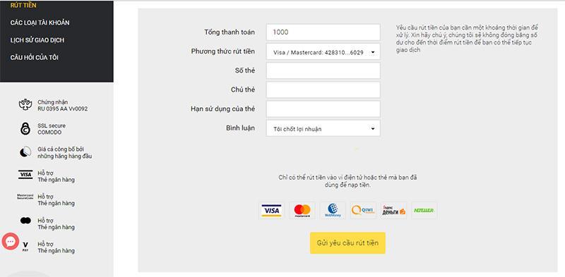 Điền thông tin thanh toán rút tiền từ Binomo