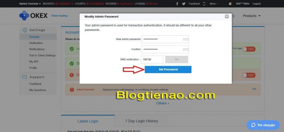 Thiết lập bảo mật Admin password. Ảnh 2