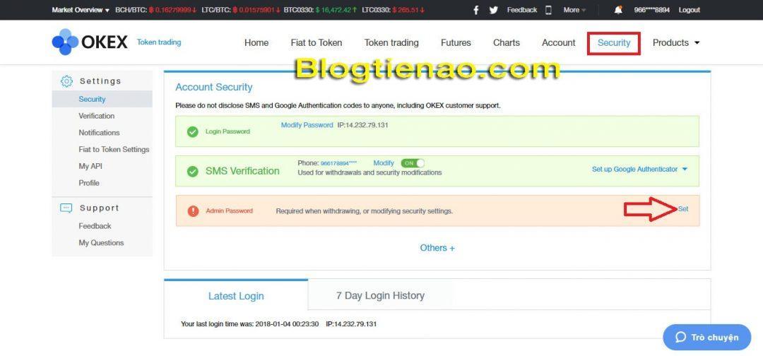 Thiết lập bảo mật Admin password. Ảnh 1