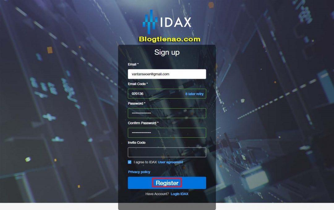Đăng ký IDAX. Ảnh 3