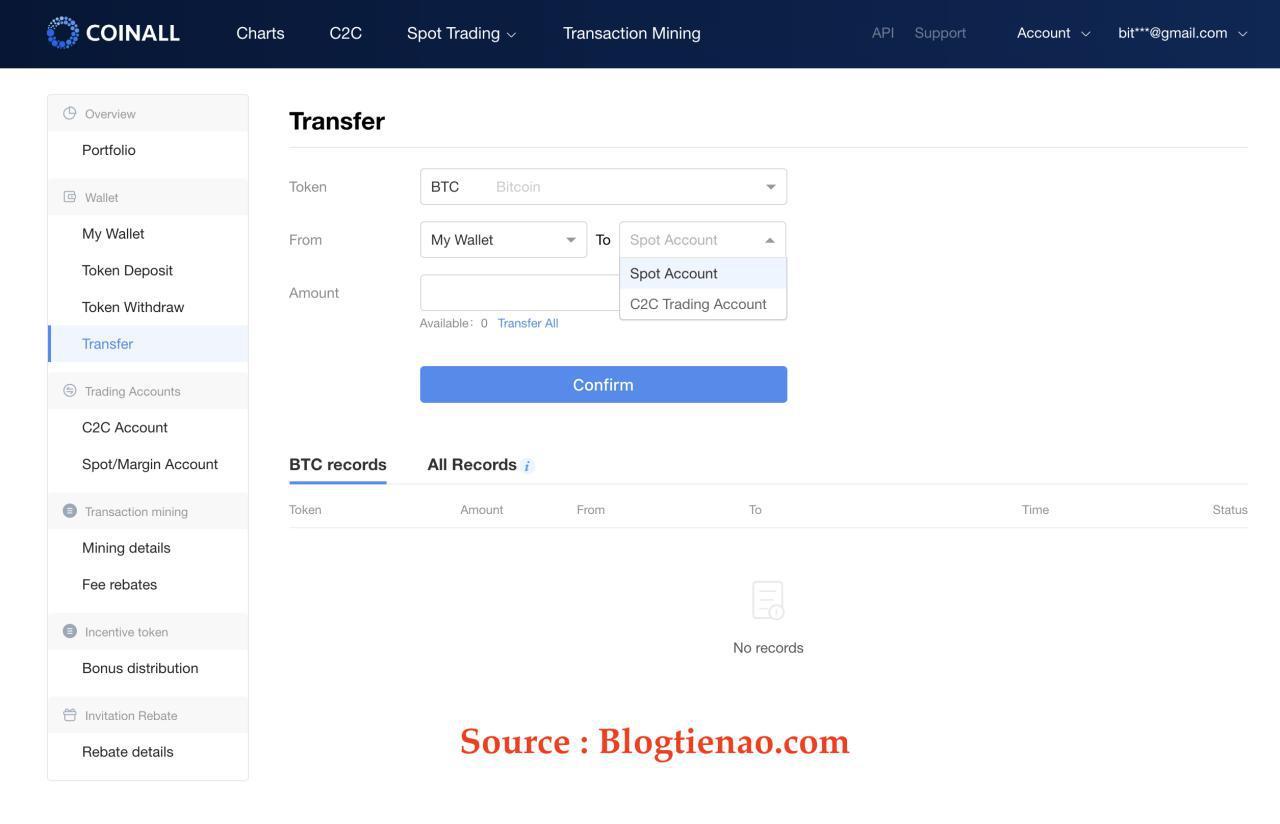 Transfer BTC sang tài khoản Spot hoặc OTC