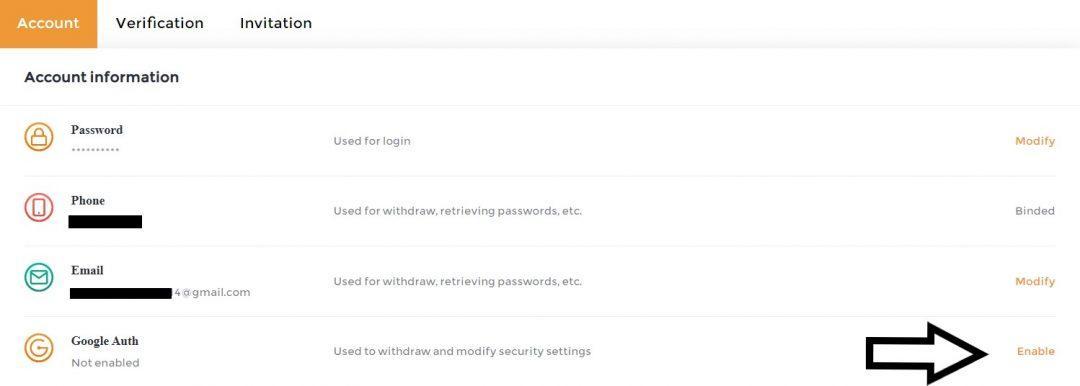 Bật Google Authenticator cho tài khoản SnapEx