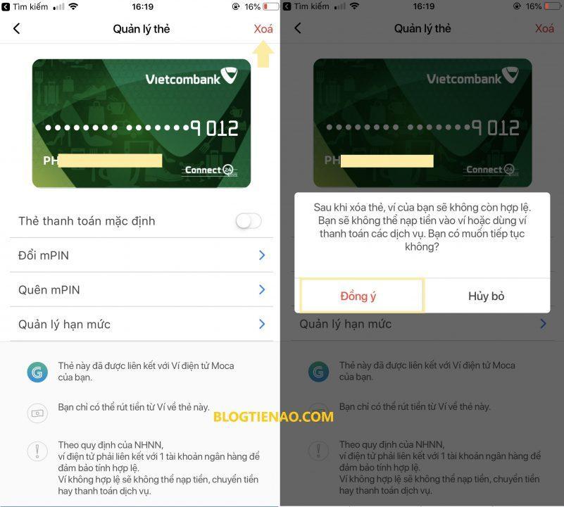 Hủy liên kết thẻ ATM