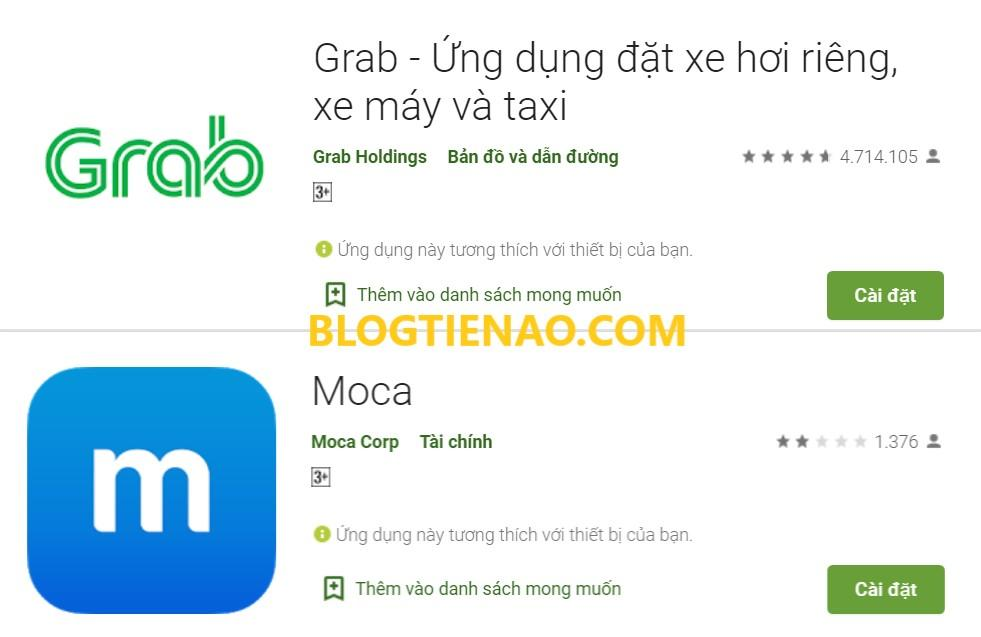 Tải ứng dụng Grab hoặc Moca
