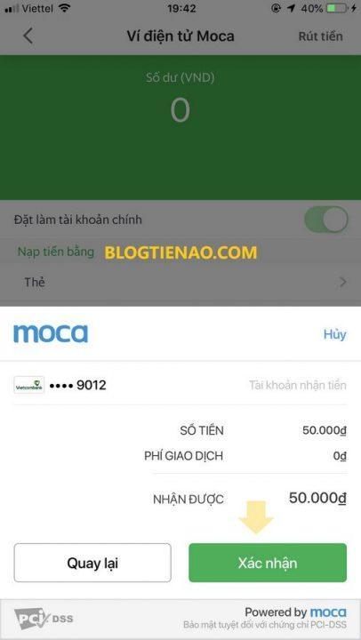 Xác nhận rút tiền GrabPay by Moca