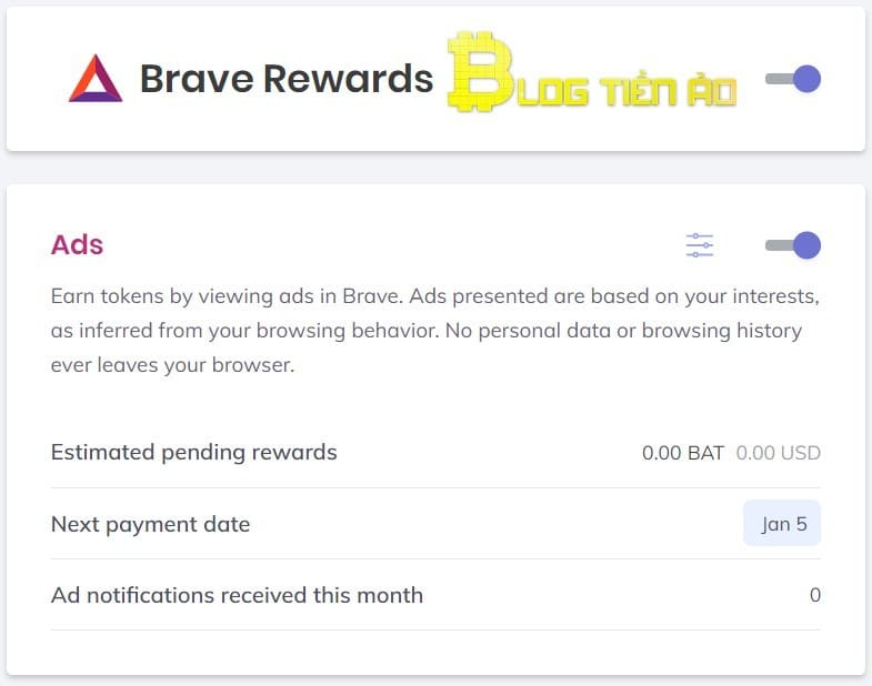 Bật quảng cáo Brave rewards