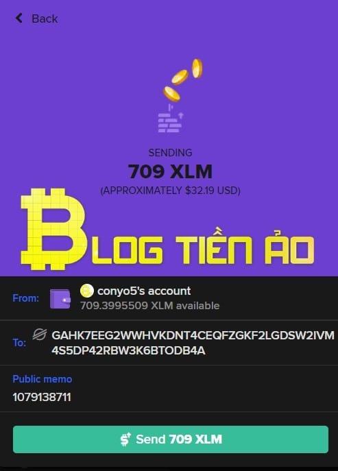 Chuyển XLM từ Keybase sang Binance