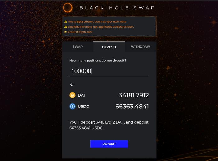 vào pool xem tỷ lệ dai usdc trong blackholeswap