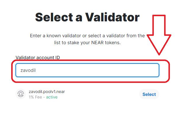 chon validator - huong dan stake near
